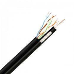 Комбиниран кабел FTP Cat5е 24AWG CU - RG6/96 CCS, черен