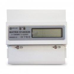 Електромер трифазен Matrix-D1AKX20, за монтаж на DIN шина, до 60А, директно свързване