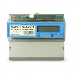 Електромер трифазен Matrix-D1AKX22, за монтаж на DIN шина, до 100А, директно свързване