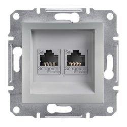 Розетка 2xRJ45 кат.5e UTP алуминий