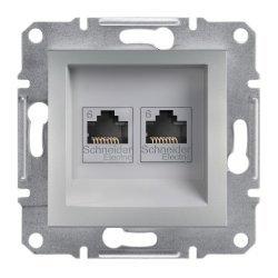 Розетка 2xRJ45 кат.6 UTP алуминий