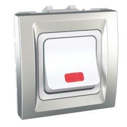 Двуполюсен ключ 32АХ с индикаторна лампа алуминий двумодулен механизъм