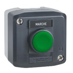 Превключвател бутонен, 1 зелен бутон, 1NO, тъмносив