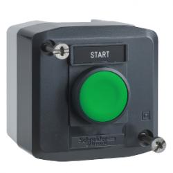 Превключвател бутонен, 1 зелен бутон, 1NO, тъмносив, 22 mm