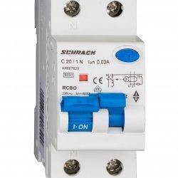 Дефектнотокова защита с прекъсвач AMPARO 1Р+N, С крива, 20A, 30mA, 6kA, тип A