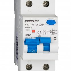 Дефектнотокова защита с прекъсвач AMPARO 1Р+N, B крива, 20A, 30mA, 6kA, тип A