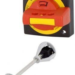 Ръкохватка за врата, въртяща, за моторни защити BE5/6, жълто-червена