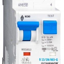 Дефектнотокова защита с прекъсвач 1Р+N, В крива, 13A, 30mA, 10kA, тип AС/G