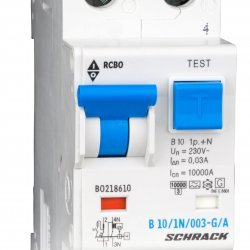 Дефектнотокова защита с прекъсвач 1Р+N, B крива, 10A, 30mA, 10kA, тип A/G