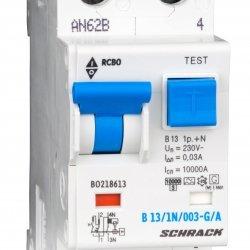 Дефектнотокова защита с прекъсвач 1Р+N, В крива, 13A, 30mA, 10kA, тип A/G