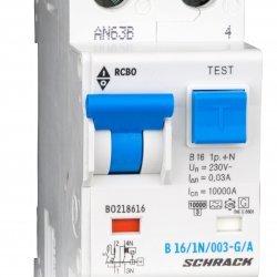 Дефектнотокова защита с прекъсвач 1Р+N, В крива, 16A, 30mA, 10kA, тип A/G
