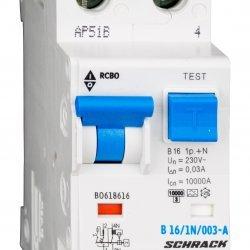 Дефектнотокова защита с прекъсвач 1Р+N, В крива, 16A, 30mA, 10kA, тип A