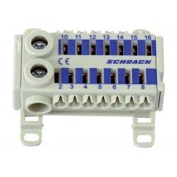 Блок клемен за бързо свързване, 2x25mm², 14x4mm², син