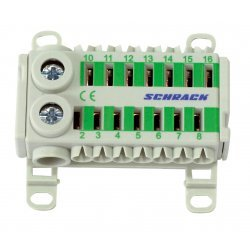 Блок клемен за бързо свързване, 2x25mm², 14x4mm², зелен