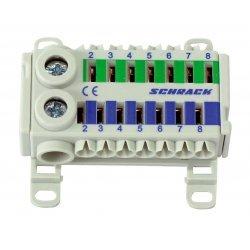 Блок клемен за бързо свързване, 1x25mm², 7x4mm², син/зелен