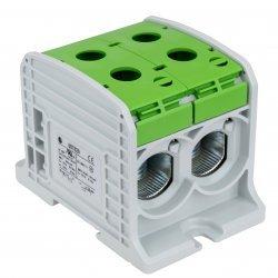 Клема редова 185mm², двойна, жълто-зелена, Al/Cu