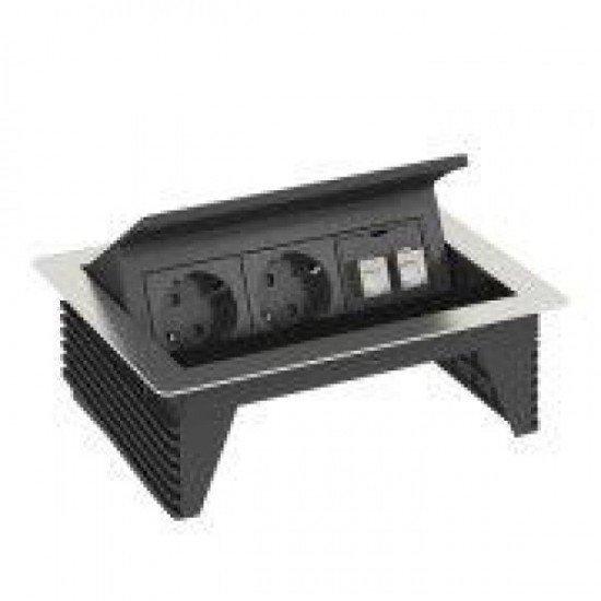 Кутия за бюро 2 шуко контакта и 2 x RJ 45 категория 6 - Deskbox