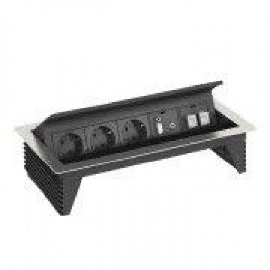 Кутия за бюро с 3 шуко контакта, VGA, аудио букса и 2x RJ45 категория 6 - Deskbox