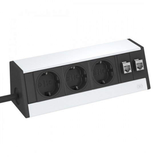 Кутия за бюро с 3 шуко контакта и 2 х RJ 45 категория 6 - Deskbox