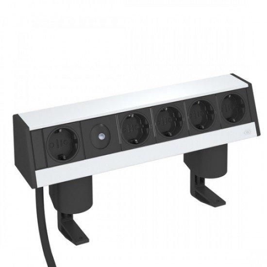 Кутия за бюро с 1+4 шуко контакта и затягаща скоба - Deskbox