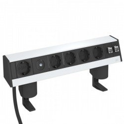 Кутия за бюро с 1+4 шуко контакта, 2 х RJ 45 категория 6, и затягаща скоба - Deskbox