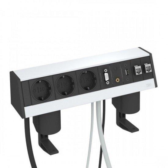 Кутия за бюро с 3 шуко контакта, VGA, USB, 2 х RJ 45 категория 6 и затягаща скоба - Deskbox