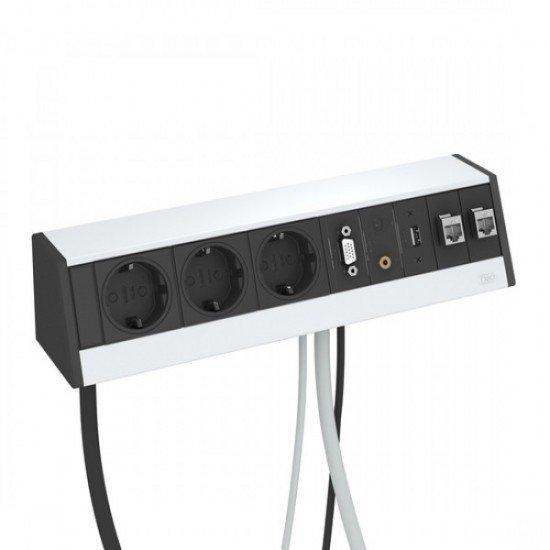 Кутия за бюро с 3 шуко контакта, VGA, USB, 2 х RJ 45 категория 6 - Deskbox