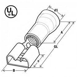 Авто - конектор женски 6,3x0,8 за 4 - 6 mm² - жълт