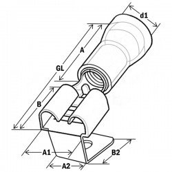 Авто - конектор м/ж 6,3x0,8 за 0,5 - 1,0 mm² - червен