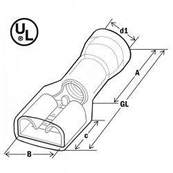Авто - конектор женски изц.изол. 6,3x0,8 за 0,5 - 1,0 mm² - червен