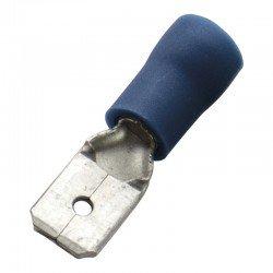 Авто - конектор мъжки 6,3x0,8 за 1,5 - 2,5 mm² - син