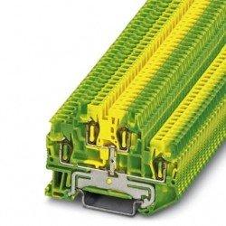 Клема редова 2-редова пружинна 1,5 mm² жълто - зелена с общ потенциал - 4връзки