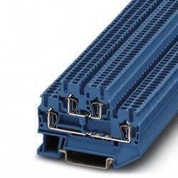 Клема редова 2-редова пружинна 1,5 mm² синя - 4връзки