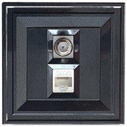 Розетка TV F + RJ45 cat.6 2M черен