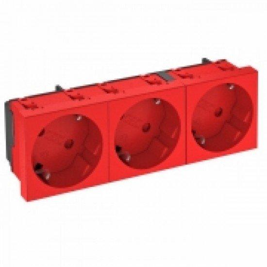 Контакт шуко троен, наклонен 33˚, червен, SKS RW3