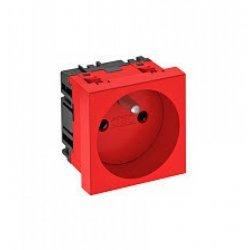 Контакт шуко единичен, 0˚, със заземителен щифт - червен, SKS F0