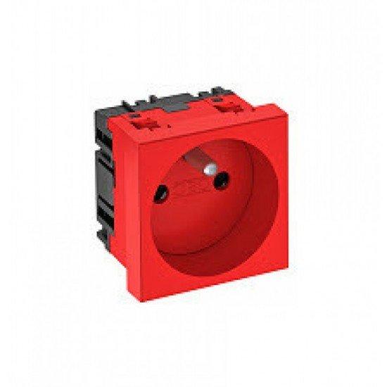 Единичен Шуко контакт, 0˚, със заземителен щифт - червен, SKS F0