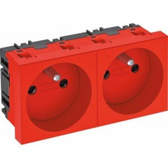Контакт шуко двоен, 0˚, със заземителен щифт - червен, SKS F02