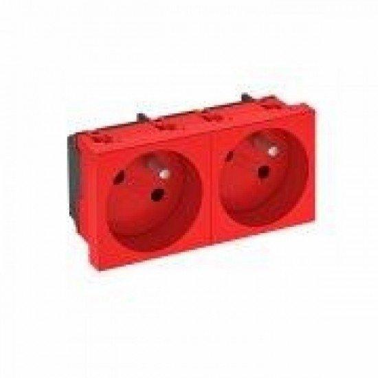 Контакт шуко двоен, наклонен 33˚, със заземителен щифт, червен, SKS F32