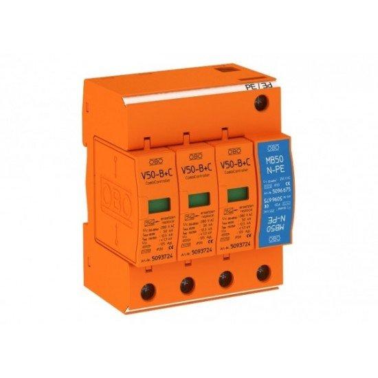 Защита аресторна тип 1+2, 3P+NPE, 230 V, 12.5 - 50 kA