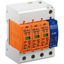 Аресторна защита тип 1+2, 3P+NPE, Un = 230 V, I imp  7 - 25 kA