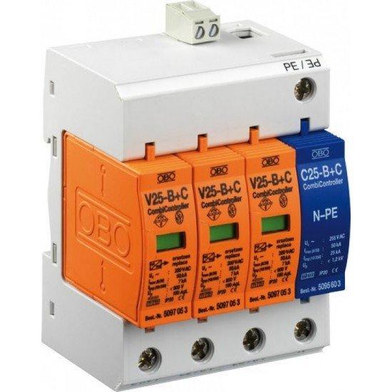 Защита аресторна тип 1+2, 3P+NPE. 230 V, 7 - 25 kA с дистанционна сигнализация