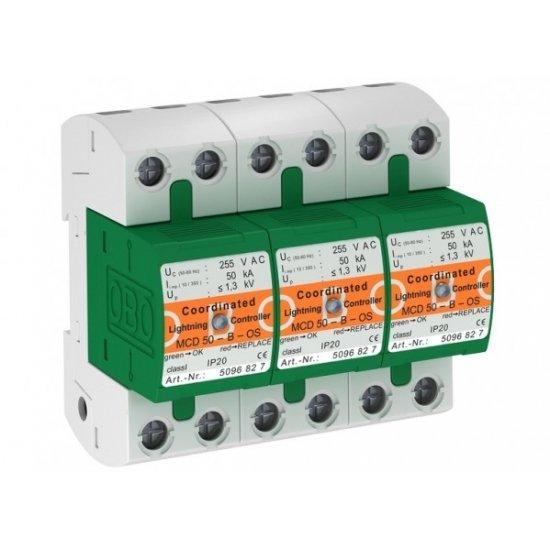 Защита аресторна комбинирана тип 1+2, 3P, 50 - 150 kA с оптична сигнализация