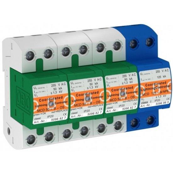 Защита аресторна комбинирана, тип 1 + 2, 3P+NPE, 50 - 125 kA с дистанционна сигнализация