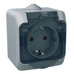 Контакт ОМ IP44 16A прозрачен капак сив