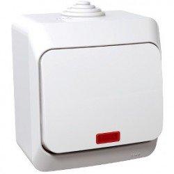 Ключ еднополюсен с глим лампа ОМ IP44 бял