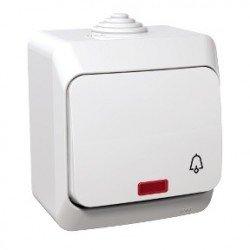 Бутон символ звънец с глим лампа ОМ IP44 бял
