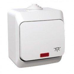 Бутон символ осветление с глим лампа ОМ IP44 бял