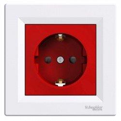 Контакт шуко 16A червен рамка бяла