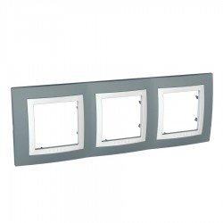 Рамка декоративна тройна техническо сиво/бял